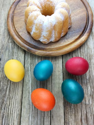 Easter Wood Baked Cake Close-up Color Colorful Decoration Dessert Directly Above Eggs Food Food And Drink Freshness Group Of Objects High Angle View Indoors  Indulgence Multi Colored No People Ready-to-eat Snack Still Life Sweet Sweet Food Table Temptation Unhealthy Eating Wood - Material