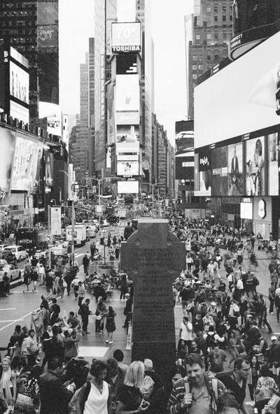 Backandwhite Bw City City Life Day Film Film Photography Kodak400 Lifestyles New York City Newyork NYC Outdoors People TimesSquare USA USAtrip