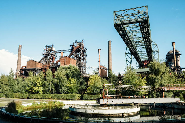 Landschaftspark Architecture Building Exterior Built Structure Clear Sky Construction Industry Crane - Construction Machinery Day Industry Machinery Nature No People Outdoors Plant River Sky Tree Water Waterfront