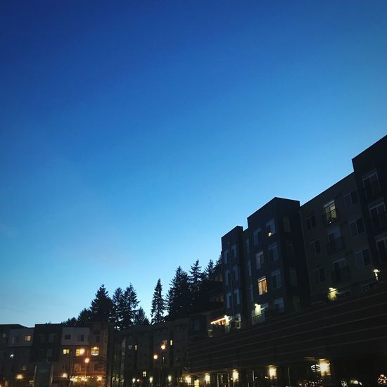 Dusk Architecture Built Structure Low Angle View Blue Night