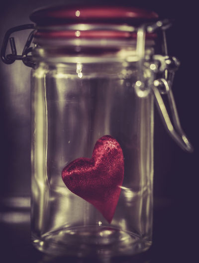 Close-up of heart shape in jar