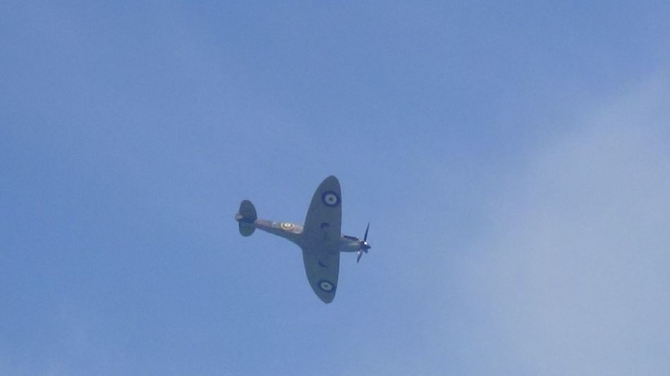 "Here is a Photo Shot of a Spitfire Performing it's Display at Capel le Ferne 2017 for ""The Battle of Britain"" Memorial Service. Capel Le Ferne England, UK Folkestone Kent England Great Britain Hot Day Nice Day Planes In The Sky Planespotting United Kingdom Air Vehicle Airplane Airshow Blue Clear Sky Day Flying Kent England Low Angle View No People Outdoor Photography Outdoors Planes Sky Sky_collection Transportation"