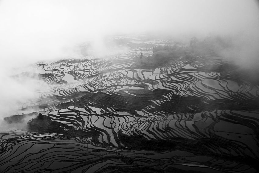 Landscape Tranquility Nature No People Outdoors Tranquil Scene Scenics Agriculture Water Day Smoke - Physical Structure Beauty In Nature Terraced Field Rice Paddy China EyeEmNewHere Welcome To Black Blackandwhite