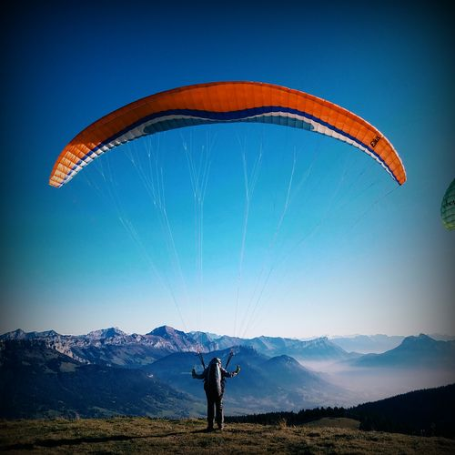 Ready to jump Scenics Outdoors Flying Silhouette Parapente Sky Blue Sky Beauty In Nature Landscape French Alps Semnoz Mountain