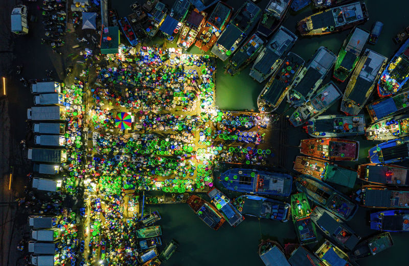 Aerial view of floating market at harbor
