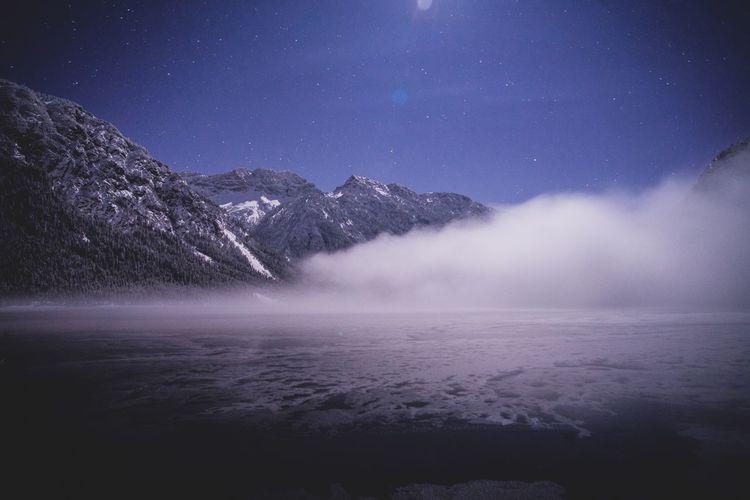 Lake Landscape Nightsky Stars Moon Sky