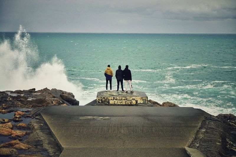 Ocean Atlantic Ocean Stormy Weather Top View Togetherness SPAIN Silhouette Tourism Travel Photography Water Sea Wave Beach Full Length Togetherness Men Horizon Over Water Sky Groyne Shore Rushing Ocean Surfer Coast Coastline Calm Surf Headland Focus On The Story