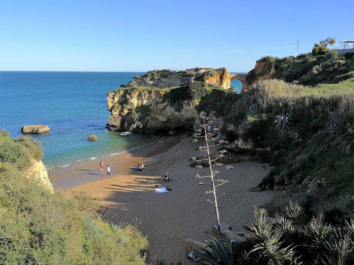 Praia Dos Estudantes Algarve Sky Rock Formation Rock Water Beach Cliff Sea Student Beach Arch Cove Horizon Over Water Incidental People