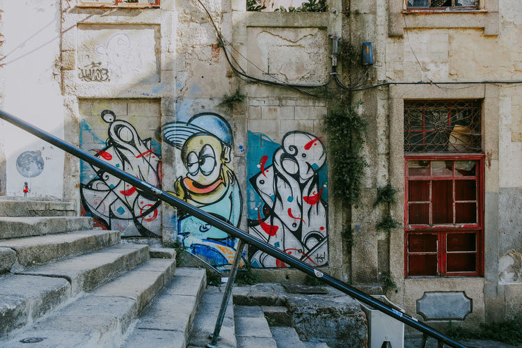 Architecture Graffiti Building Window Mural Abandoned Old Creativity Lisbon Portugal