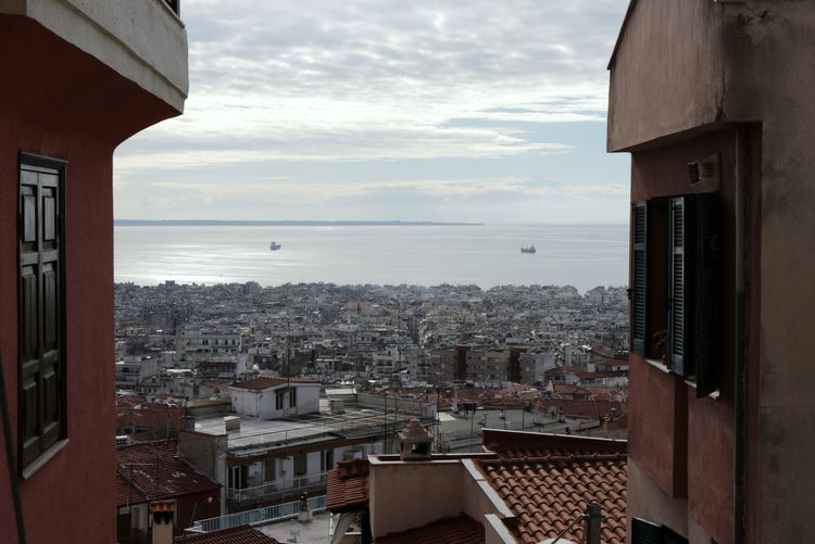 View of Thessaloniki from above Thessaloniki Architecture Building Exterior Built Structure City Cityscape Cloud - Sky Day Greece Horizon Over Sea Horizon Over Water Nature No People Outdoors Salonica Salonika Sea Sea And Sky Sky View From Above Water Window View
