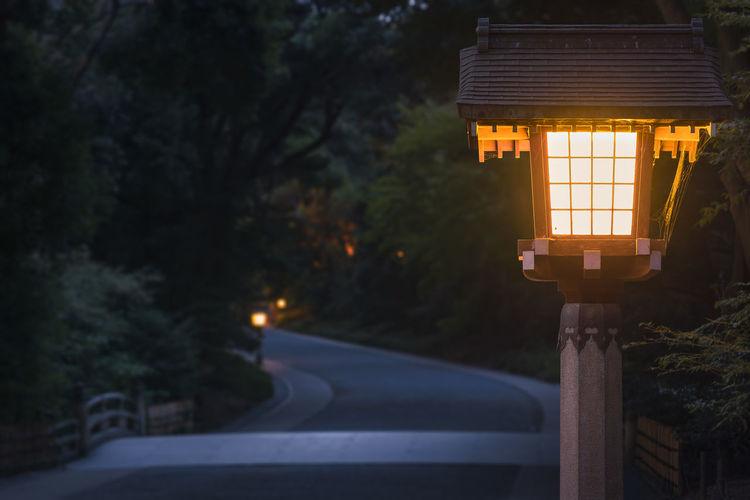 Illuminated street light on road at night