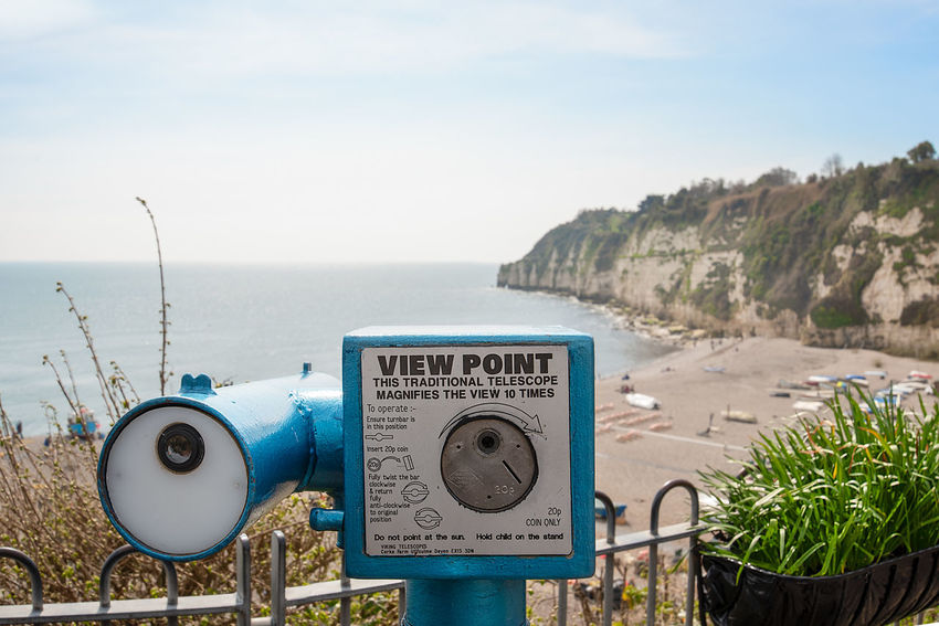 A traditional coin operated View Point telescope over looking the seafront and chalk cliffs of the village of Beer, Devon, England. Chalk Cliffs Cliffs Devon Beach Beauty In Nature Beer Devon Binoculars Close-up Coin Operated Coin-operated Binoculars Day Hand-held Telescope Horizon Over Water Idyllic Land Nature No People Outdoors Scenics - Nature Sea Sky Telescope Tranquil Scene Tranquility Water