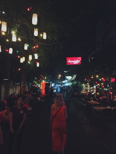 Khaosan Road at night Bangkok Thailand Illuminated Night Real People Men Street City City Life Large Group Of People Rear View Women Architecture Outdoors Lifestyles Crowd People