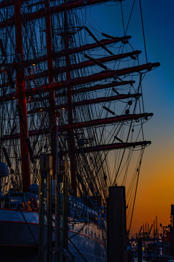 Sky Transportation No People Nature Mode Of Transportation Water Nautical Vessel Outdoors Sailboat Saling Ship Hamburg Hamburg Harbour Sedof Red Sunset Silhouettes