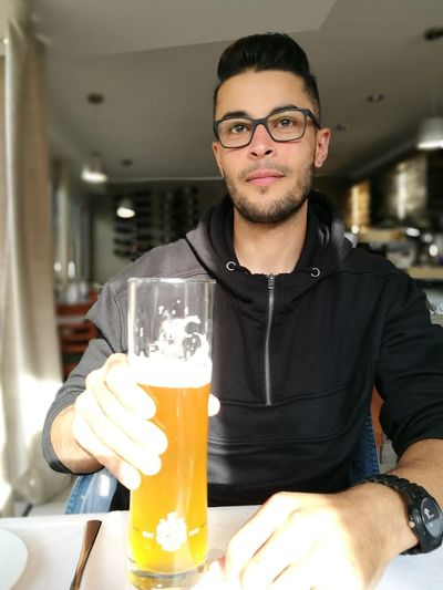 EyeEm Selects Eyeglasses  Drink Portrait Men Standing Beard Kitchen Bartender Happy Hour Front View Beer Glass Craft Beer Beer - Alcohol Beer