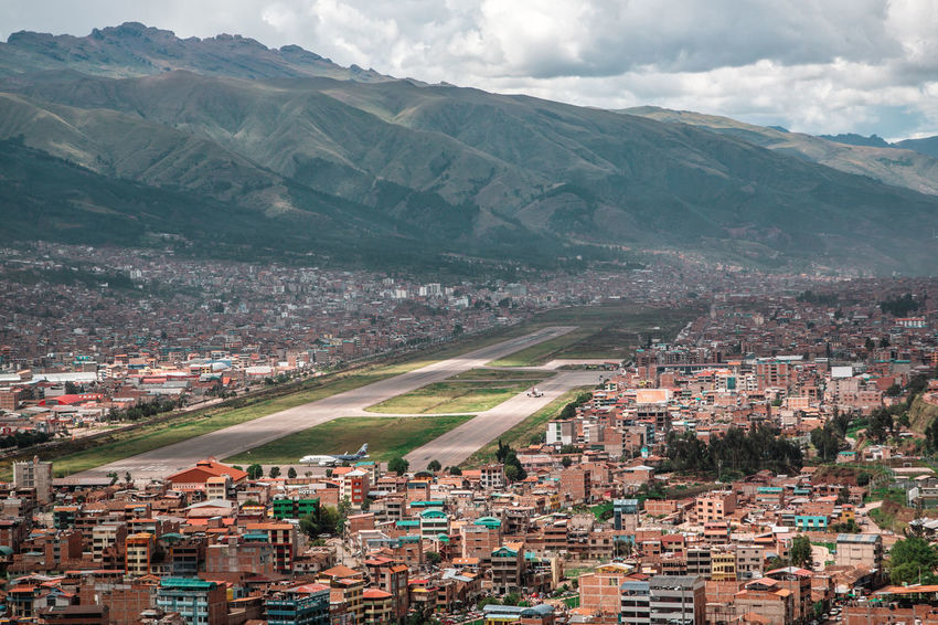 The beautiful view over Cusco. Andes Backpacking City Cityscape Exploring Inca Landing Latin America Plane Aerial View Airport Airport Runway Built Structure Colonial Day Discover  High Angle View No People Outdoors Residential District South America TOWNSCAPE Travel Destinations Urban Urban Sprawl The Great Outdoors - 2018 EyeEm Awards The Traveler - 2018 EyeEm Awards