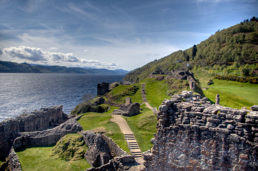 Scotland UrquhartCastle Beauty In Nature Day Grass Landscape Loch Ness Mountain Nature No People Outdoors Scenics Sea Sky Tranquil Scene Tranquility Water