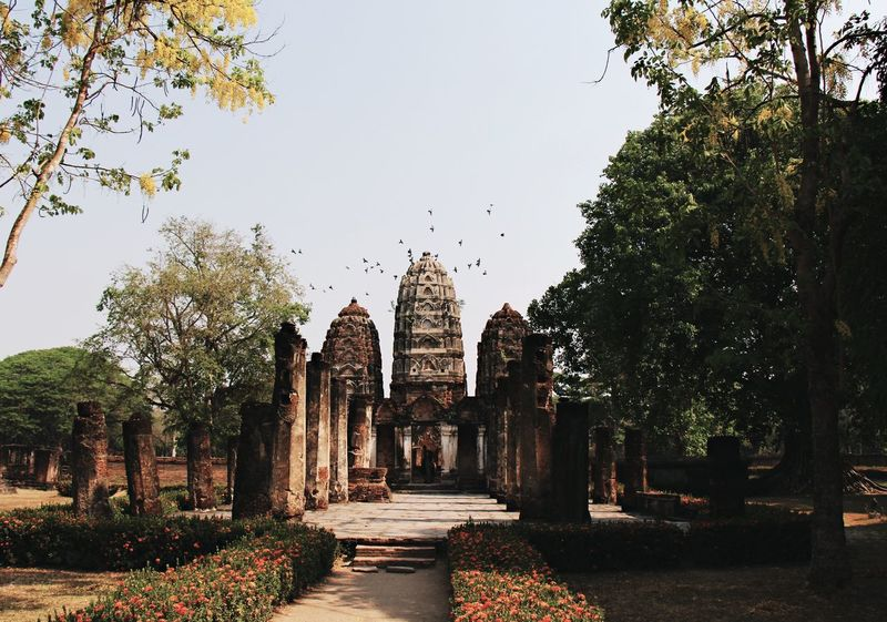 Sukothai Temple Ruins Ancient Temple Architecture Spirituality Place Of Worship History Travel Destinations Dusk Sunset Thailand