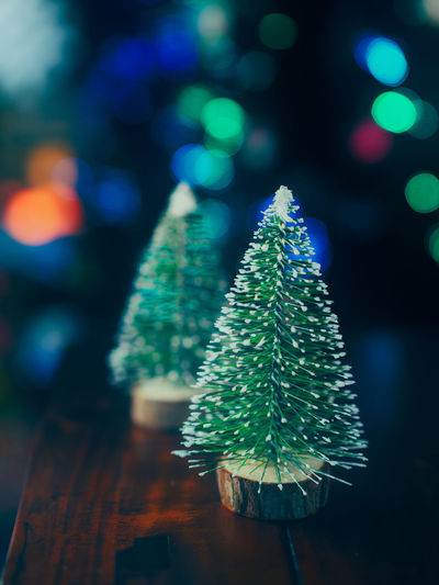 Close-up of christmas tree decoration on table