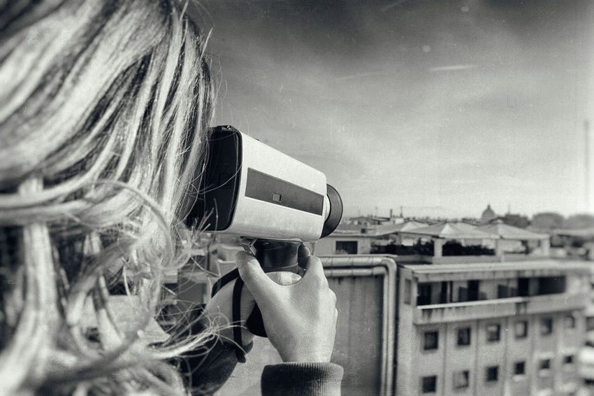 Analogue Photography Black And White Blonde Camera City Close-up Day Dome Effect Lifestyles Old One Person Outdoors Panorama People Real People Retro Styled Rome Shooting Skyline St Peter Super 8 Technology Vintage Woman