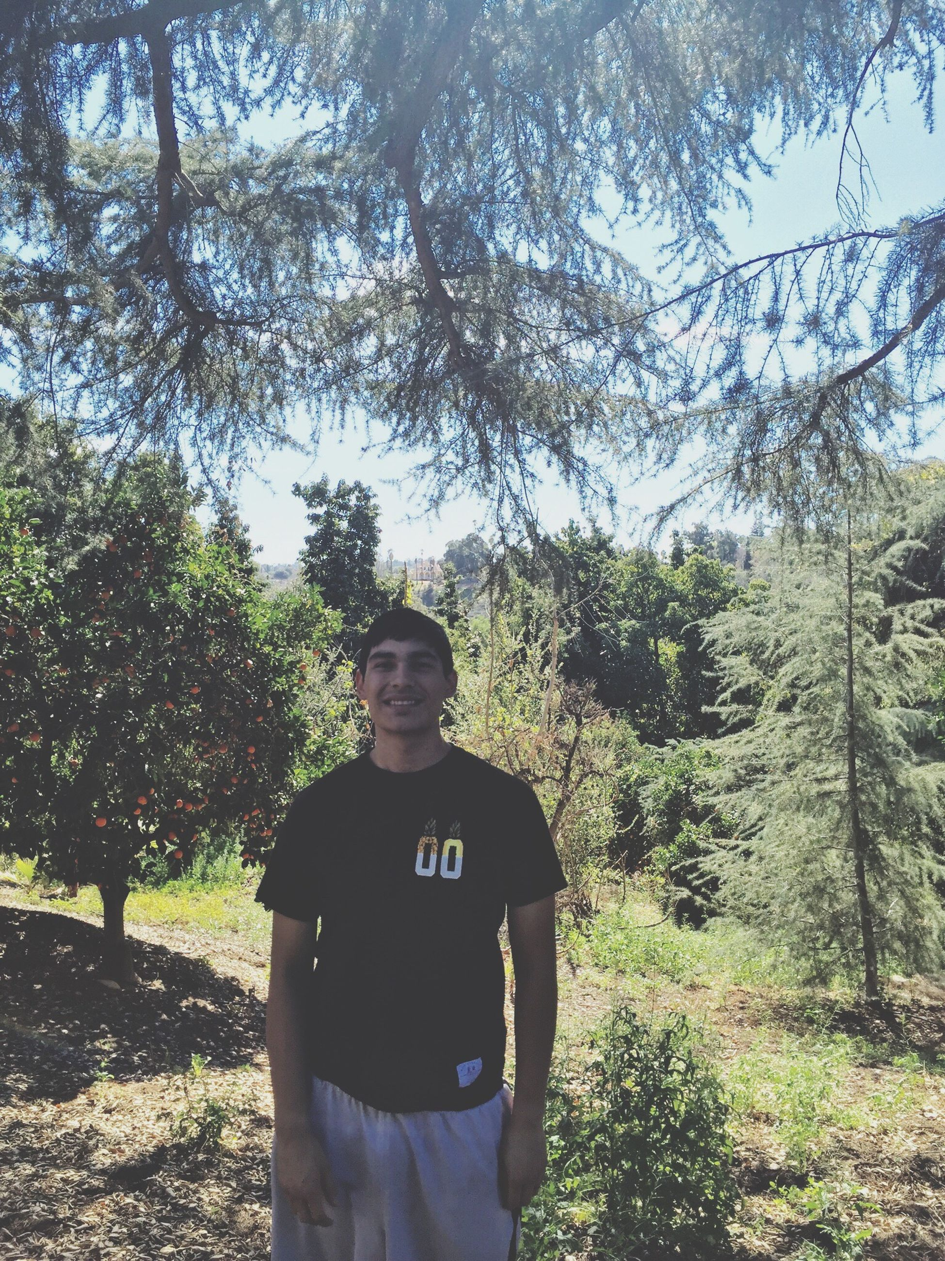 tree, leisure activity, lifestyles, standing, young adult, person, casual clothing, front view, outdoors