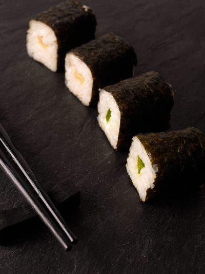 Hoso maki sushi Close-up Day Delicious Food Food And Drink Four Freshness Healthy Eating Hoso Maki Indoors  No People Plate Ready-to-eat Slate Sticks Sushi