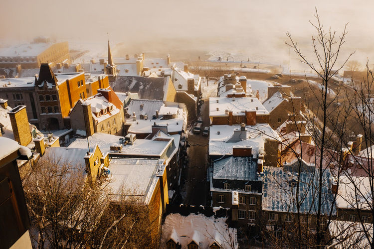 High Angle View Of Buildings At Old Quebec During Winter