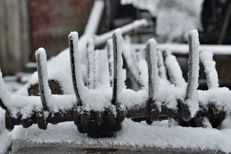 Close-up of snow covered metal fence during winter