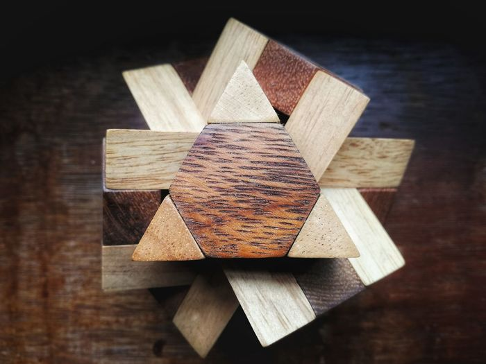 Close-Up Of Wooden Block On Table