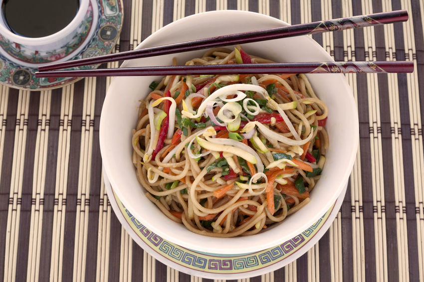Asian Style pasta with vegetables and soy sauce. Asian Style Asian Style Food Bowl Carrots Chopsticks Chow Mein Close-up Day Food Food And Drink Freshness Healthy Eating Healthy Food Indoors  No People Noodles Pasta Ready-to-eat Red Pepper Soy Sauce Soybean Sprouts Sprouts Studio Shoot Zucchini