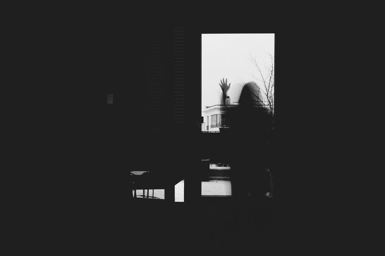Built Structure Indoors  Window View VSCO Silhouette Movement Tranquility Tranquil Scene Blackandwhite Black And White One Person Window Window Views  VSCO Shades Of Grey Shadow Shadows
