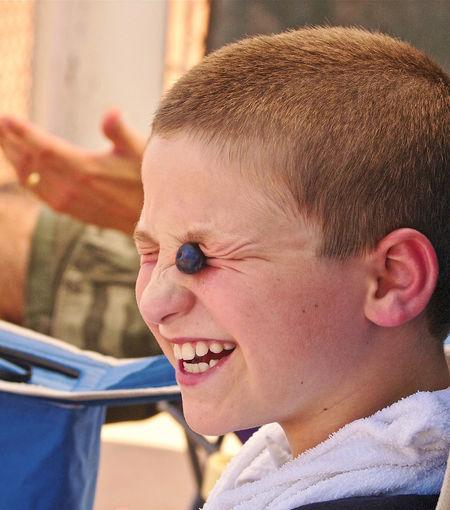 Blueberry Eyes Boys Cheerful Childhood Happiness Headshot Outdoors Smiling