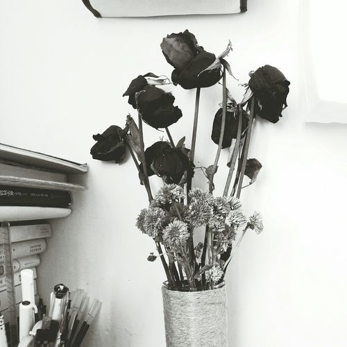 Rose - Flower Withered Flower Decoration Alone Time Silence Photography Art Blackandwhite Book Tables Daily Life