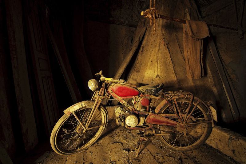 vintage motorcycle in old room Architecture Bicycle Close-up Day Indoors  Land Vehicle Mode Of Transport Motorcycle Motorcycle Photography Motorcycles No People Old House Old-fashioned Sunset Light Transportation Transportation Transportation Vehicle Wheel Wooden House