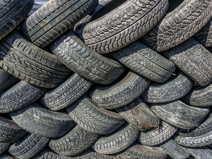 Full frame shot of tire stack