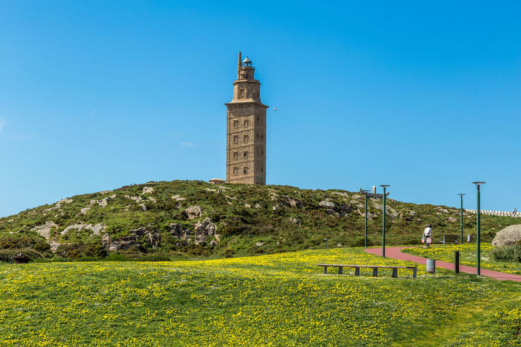 Lighthouse Architecture Beauty In Nature Blue Building Building Exterior Built Structure Clear Sky Day Grass Green Color Growth Guidance History Land Lighthouse Nature No People Outdoors Plant Sky The Past Tower