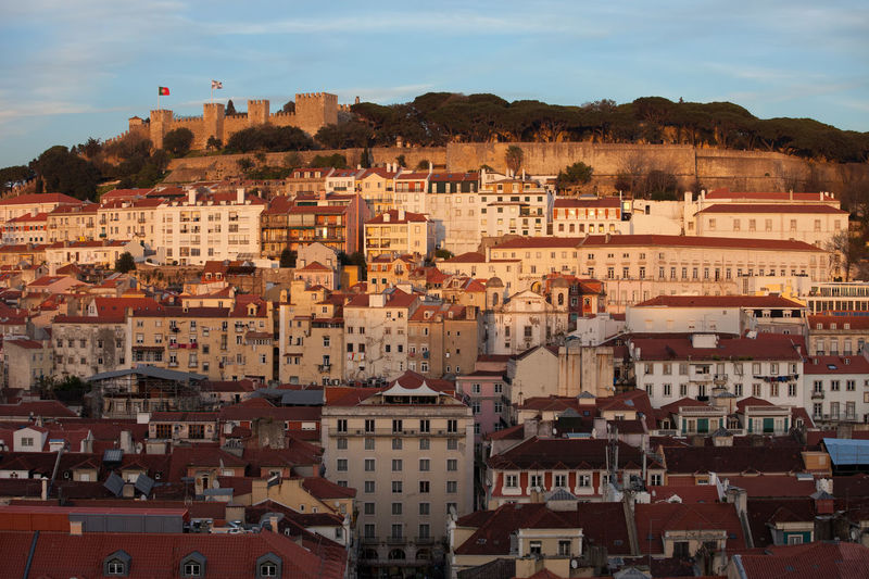 Sunset time in old town of Lisbon city in Portugal Home Houses Old Town Portugal Portuguese Travel Architecture Capital City City Europe Famous Place Hill Lisboa Lisbon Metropolis No People Old Buildings Outdoor Residential Building Sundown Sunset Travel Destinations Urban Urban Landscape