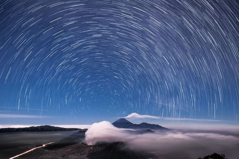 Long exposure image of stars in sky at night