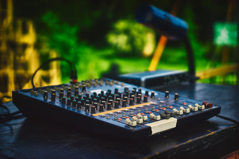 Close-Up Of Sound Mixer On Table