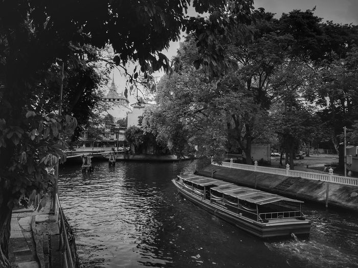 Like a past comes out in front of me Golden Mountain Pagoda Canal Water Transportation Transportation Thailand Bangkok Blackandwhite Water Tree Outdoors No People Day Growth