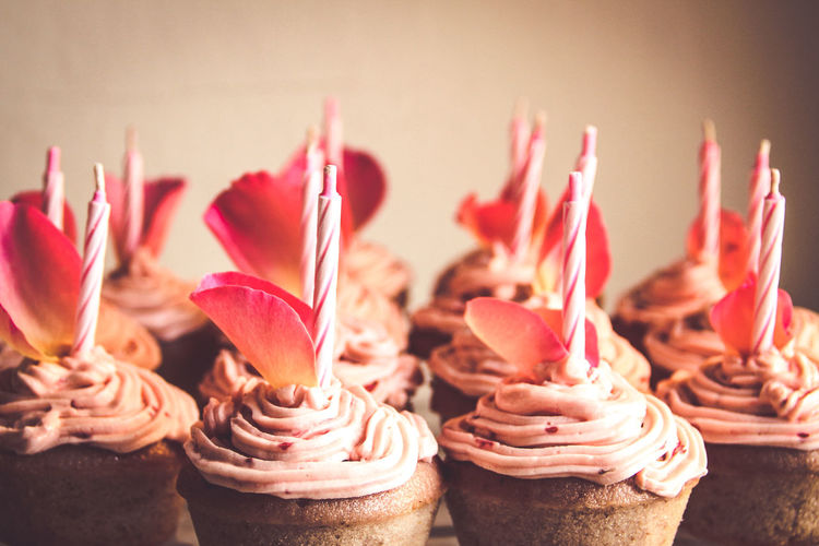 Close-up of cupcakes against blurred background