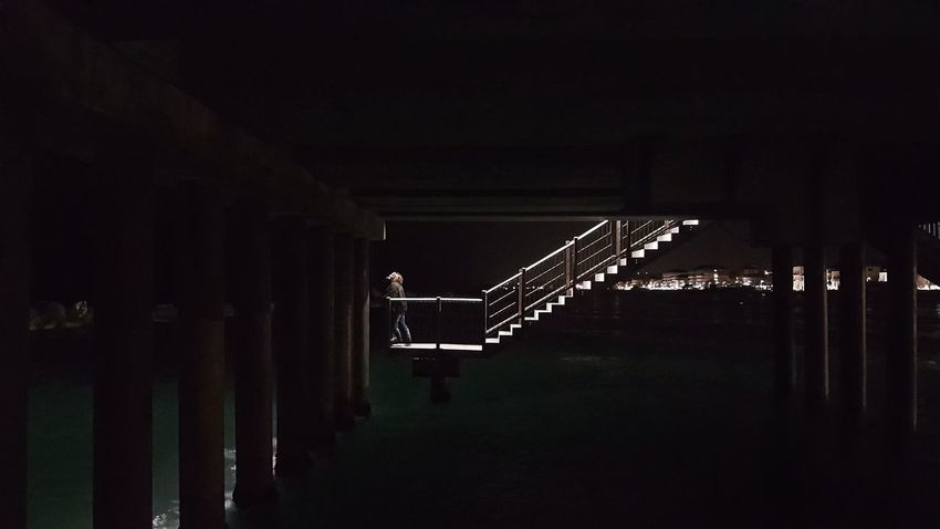 Night Outdoors Shot Sea At Night Pier Reflections Background Far Lights Portrait Night Shot Stairway Stairs Standing Still Waters Dark Surface EyeEm Selects The Week on EyeEm Editor's Picks