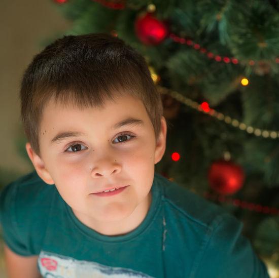 Portrait Of Boy Against Christmas Tree