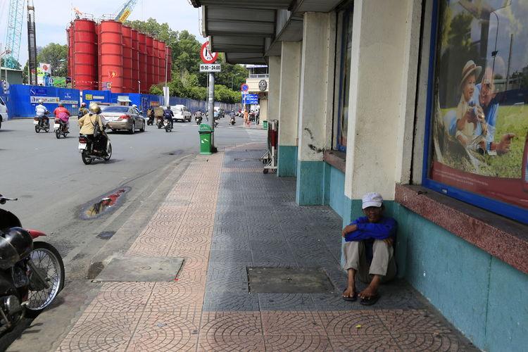 Lonely, Sad, Emotional People, Steet, Man, City, Sidewalk, Outdoo