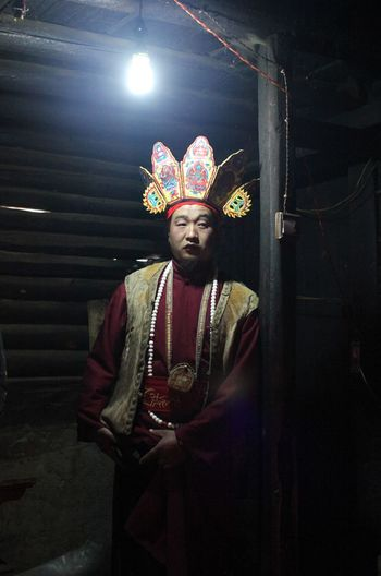 Flamen(Dongba) in Lijiang Traditional Culture Religion And Tradition Portrait Looking At Camera Men Traditional Dancing