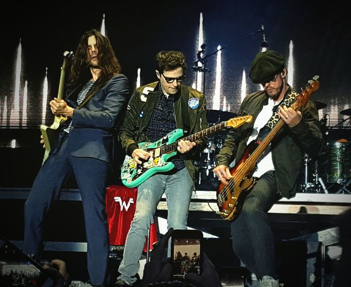 Electric Guitar Music Arts Culture And Entertainment Rock Music WEEZER Weezer Concert Guitar Musical Instrument Guitarist Bass Guitar Bass Instrument Musician Plucking An Instrument Archival Performance Playing Performance Group People Rock Group Rock Musician Adult