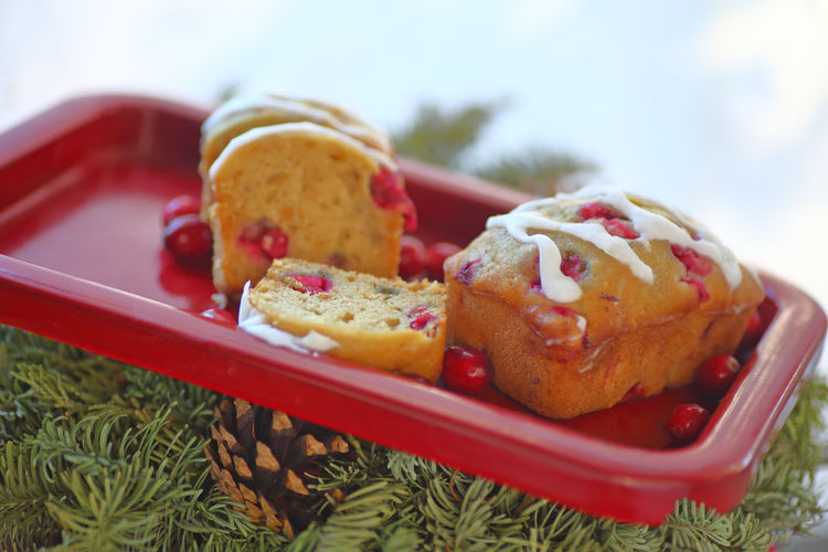 Mini cranberry cakes with evergreens Baked Goods Christmas Close-up Cranberries Day Dessert Evergreens Freshness Holiday Foods Home Cooking Icing Indoors  Indulgence Loaf Cakes Natural Light No People Pine Cone Ready-to-eat Red Tray Snack Studio Shot Sweet Food Text Space Textures Treat