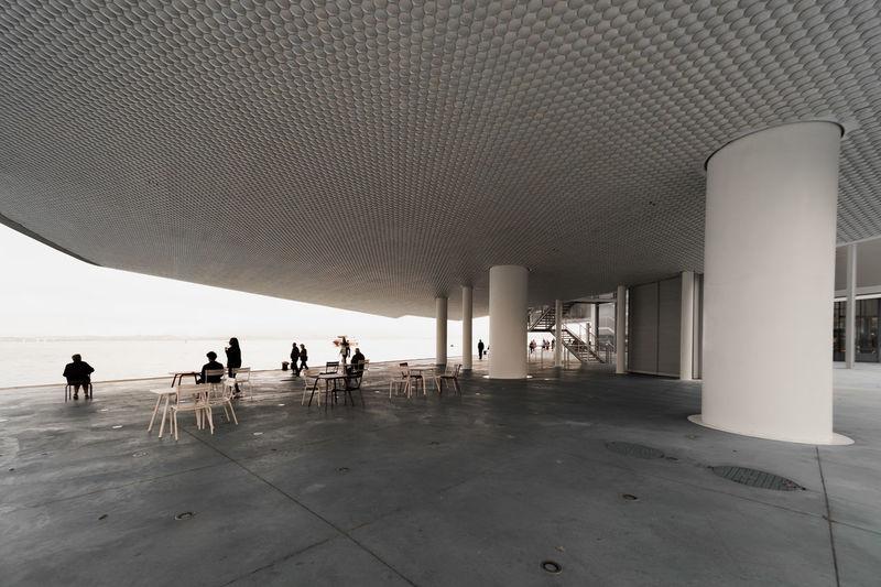 Group of people on tiled floor