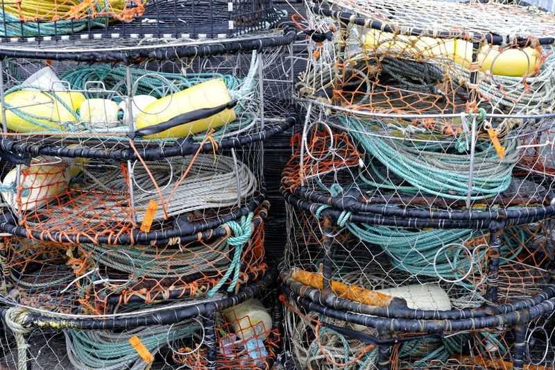 Crab traps stacked on the wharf. Still Life Colorful Fishing Rope Fishing Industry No People Outdoors Complexity Netting Material Floats Coiled Rope Nautical
