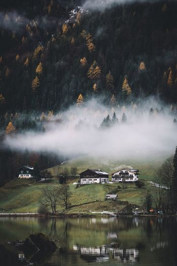 Houses by lake against trees on mountain